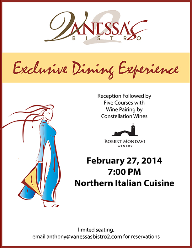 Vanessa's Bistro 2 Exclusive Dining Event February 2014 Northern Italian Cuisine Walnut Creek